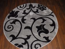 MODERN NICE 140X140CM CIRCLE RUG WOVEN BACK HAND CARVED SIVER/BLACK DEMASK RANGE